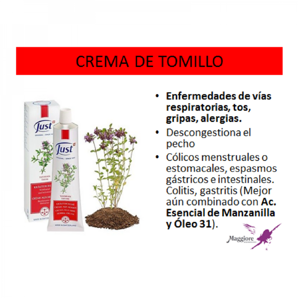 Crema De Tomillo Vías Respiratorias Swiss Just Maggiore